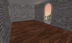 An upstairs room w/ balcony.