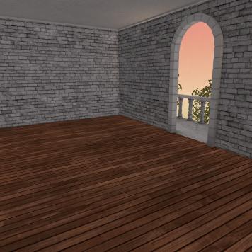 An upstairs room w/ balcony.